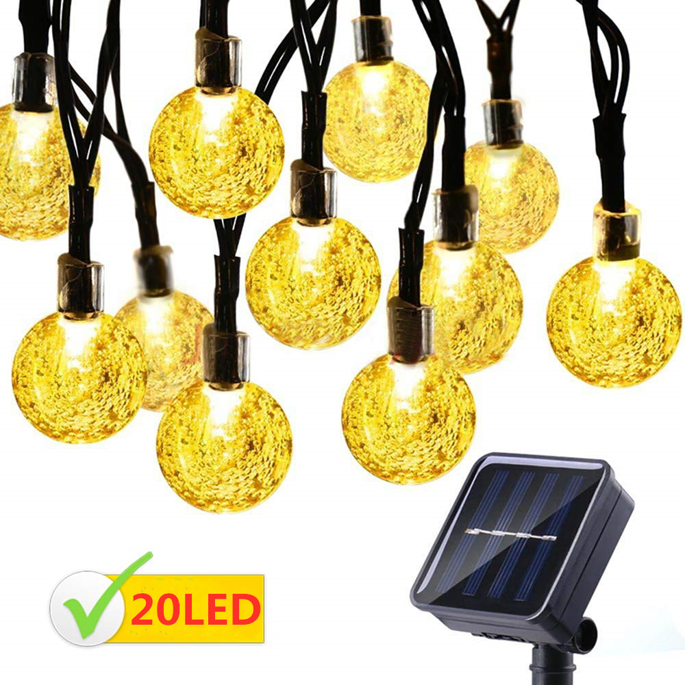 Solar String Light Waterproof 20 LED Hanging Globe String Outdoor Lights with 2 Modes for Bar Patio Garden Backyard Party Decor