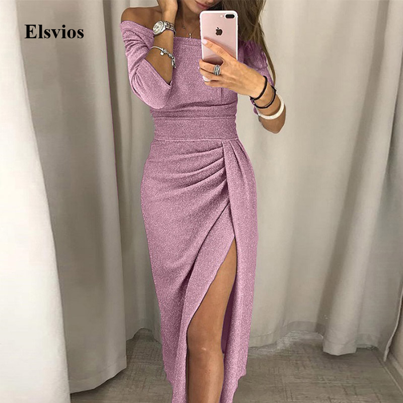 Elsvios Sexy Women High Slit Party Dress Autumn Female Silk Shiny Bodycon Maxi Dress Elegant Off Shoulder Glitter Long Dress 3XL