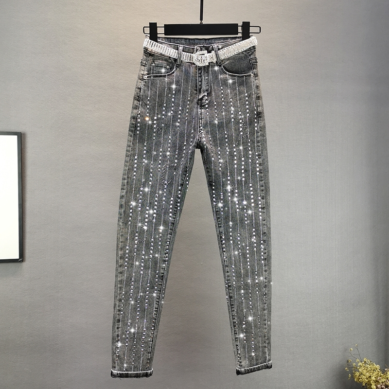 European Jeans Woman 2020 Spring New High-Waist Slim Vertical Striped Rhinestone Stretch Tight-Fit Denim Pants Long Trousers
