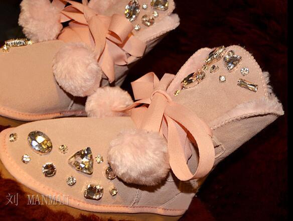 Dans le tube bow anti-dérapant sangle inférieure boule de cheveux strass bottes de neige grande taille femme coton chaussures fourrure un