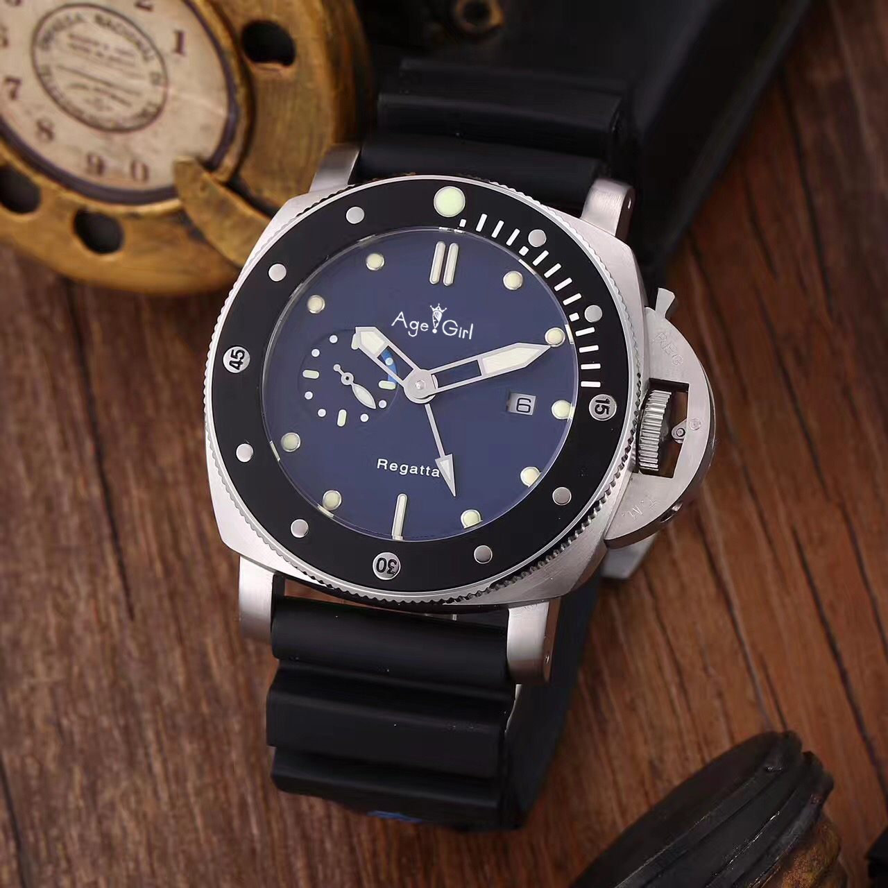 Luxury Brand New Men Automatic Mechanical Sapphire Stainless Steel Silver Black Ceramic Leather Watch 3-Days GMT Luminous AAA+