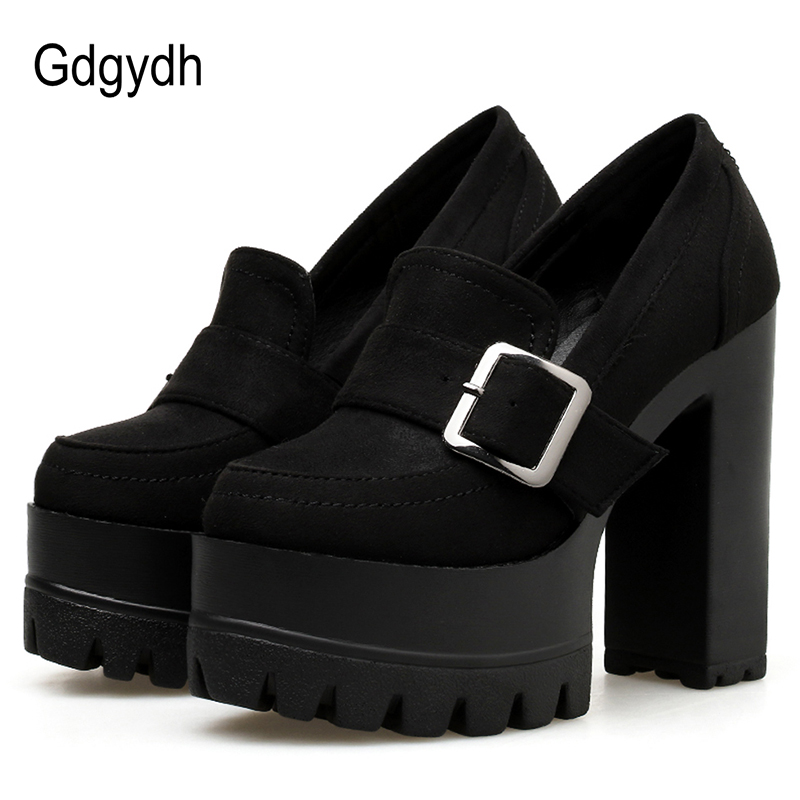 Gdgydh Spring Autumn Round Toe Women Shoes Thick High Platform Heels Female Single Shoes Casual Neutral Gothic Party Nightclub