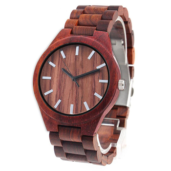 Dropshipping Customize Engraved Red Sandal Unisex Lover Women Men Wooden Wrist Watch Bamboo for Couple with Full Wood Strap