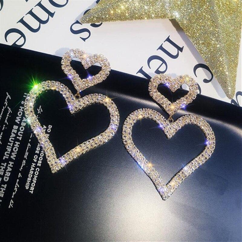 Moda Metal largo borla pendientes de Cristal exagerado Mujer Joyas Pendiente Caliente