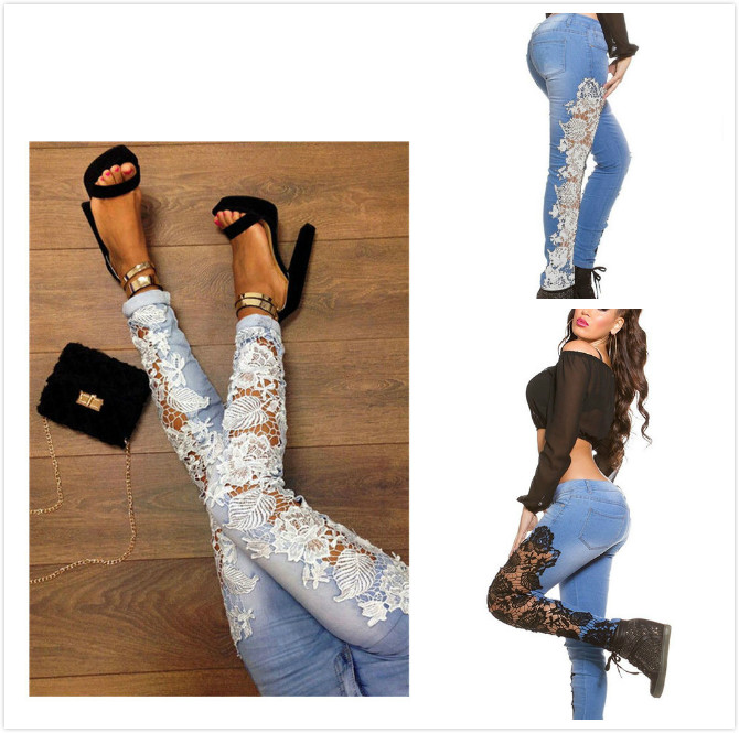 Womens  Lace Jeans Europe Style Hot Sale New European Fashion Sexy Openwork