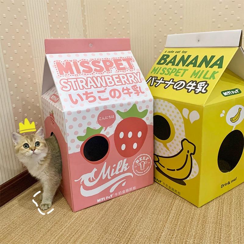 Молочная коробка, складная кошачья кровать, картонная гнездо для кошек, доска для царапин, износостойкая шлифовальная машина для кошек, спа...
