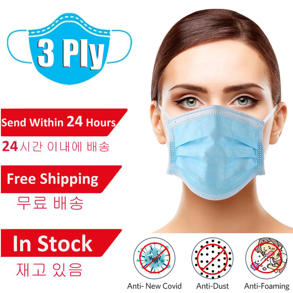 50/100Pcs Profession Face Mask 3-Ply Nonwoven Anti-dust Mouth Filter Masks Breathable Mouth Proof Flu Face Masks
