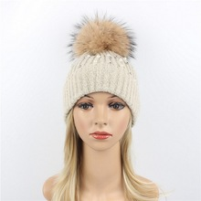 Big Real Fur Ball Winter hat Women Men knitted  Warm Caps Fashion Skullies Beanies Casual Female Hat 2019