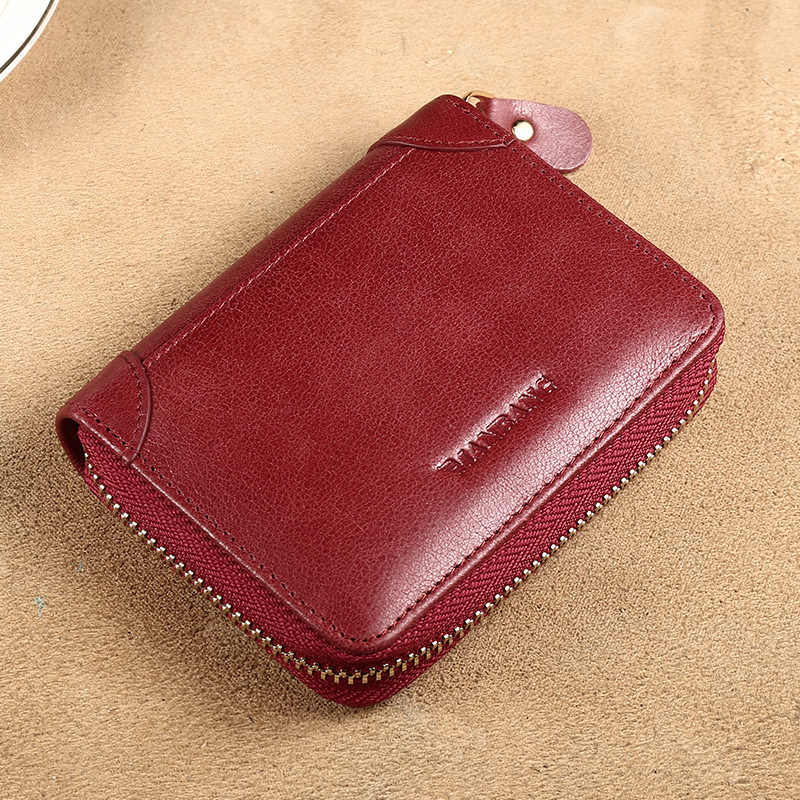 ManBang Women's Wallet Small New Style Anti-Theft Brush ID Holder Ultra-Thin Simple Driving License Genuine Leather Credit Card