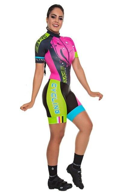 Conjunto de roupa de ciclismo feminina, macacão profissional da equipe triathlon, macacão, maillot, conjunto de roupa de ciclismo com almofada em gel rosa, 2020 3