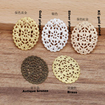 500pcs 22x17mm oval filigree flower wraps connectors flower piece jewelry findings accessories FCN-036