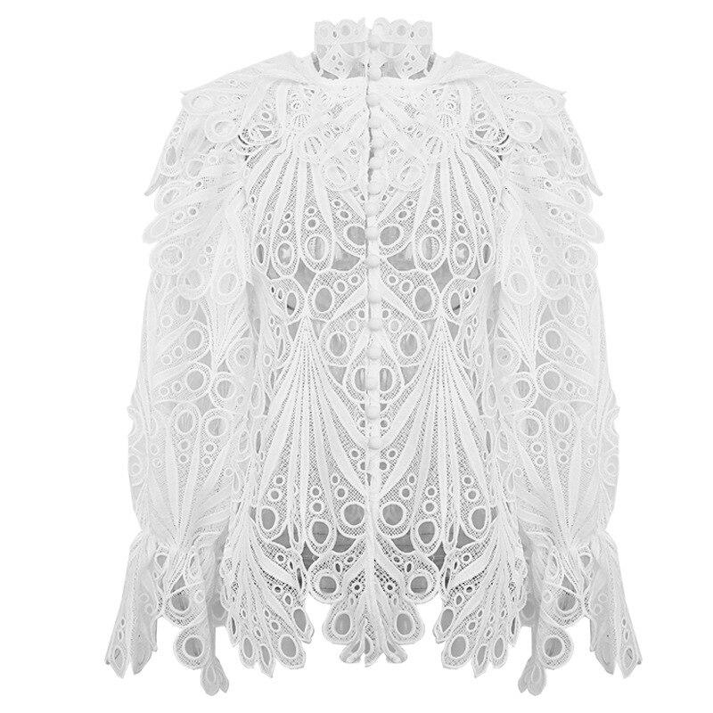 Femmes Blouse blanc noir Vintage Design lanterne manches col montant évider 2019 automne hiver livraison directe