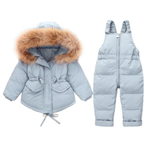 Baby Boy Girls Down Jacket Suit Toddler Hooded Coat And Overalls Set Infant Winter Warm Soft Light Clothes Cute Kids Suits