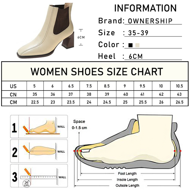 2020 botas de Chelsea para mujer, botas de tacón alto cuadradas para mujer, botas de mujer, zapatos de tejido elástico, zapatos casuales para mujer 6