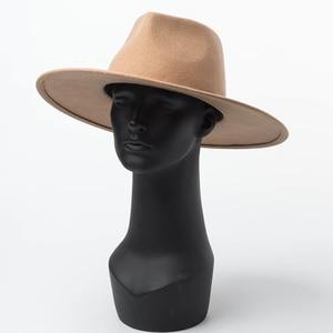 Image 3 - 100% Wool Classical Wide Brim Porkpie Fedora Hat Camel Black Hats Men Women Crushable Winter Hat Derby Wedding Church Jazz Hats