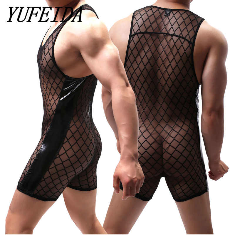 Sexy Undershirt PU Leather Mesh Patchwork Men's See Through Jumpsuit Men's One Piece Leotard Gay Wrestling Singlet Undershirts