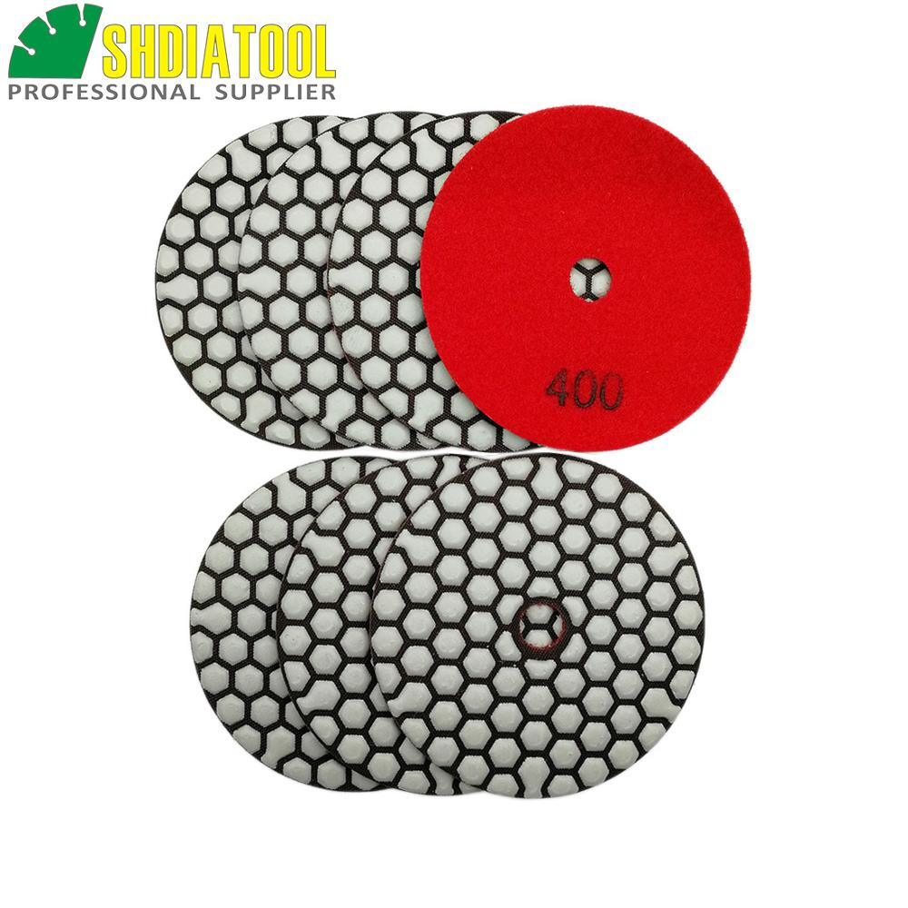 SHDIATOOL 7pcs 4inch #400 Dry Diamond Polishing Pads Dia 100MM Resin Bond Sanding Disk Working Without Water