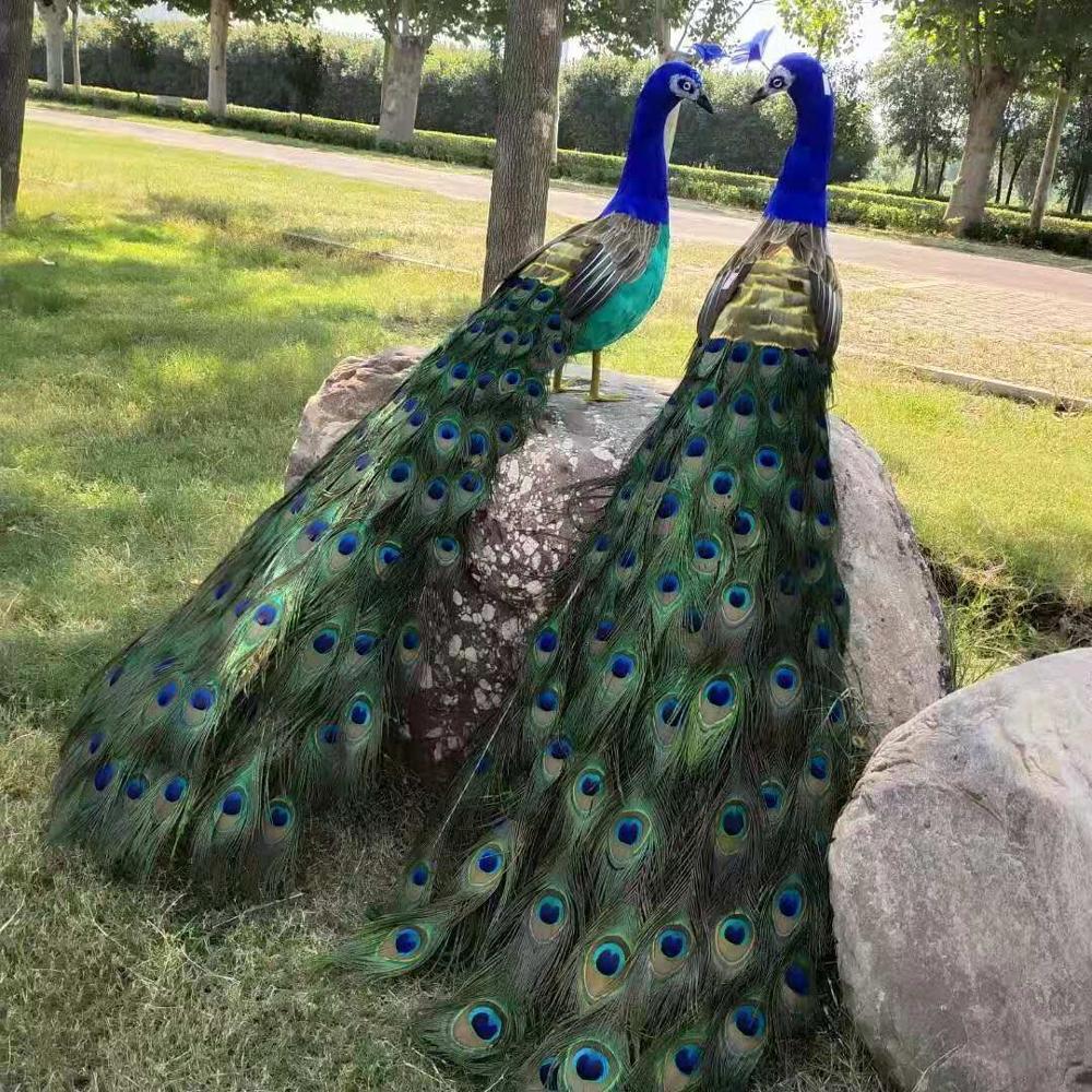 Une paire de grands modèles de paon de simulation mousse et plume belle poupée de paon environ 120cm