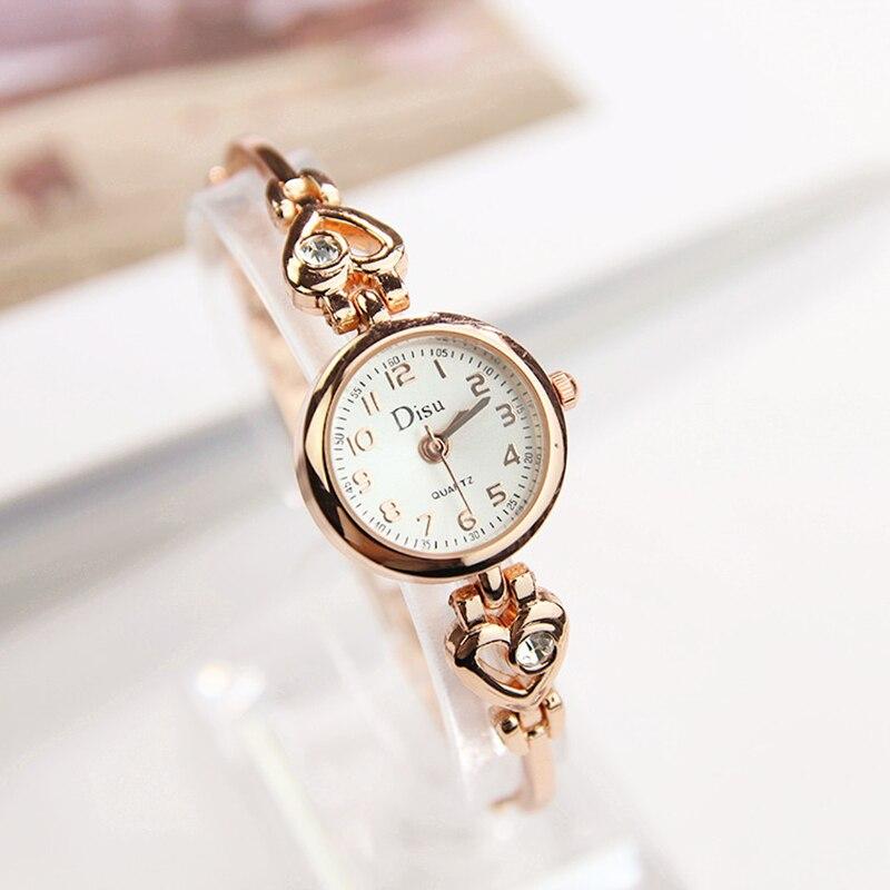 Watch Ladies Love Compact Simple Fashion Silver Chain Quartz Watch Ladies Exquisite Arabic Digital Watch Clock Monterey Female