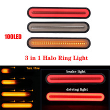100 Led Vrachtwagen Remlicht Waterdichte Neon 3 In 1 Halo Ring Staart Brake Stop Light Vloeiende Richtingaanwijzer licht Lamp 12V 24V(China)