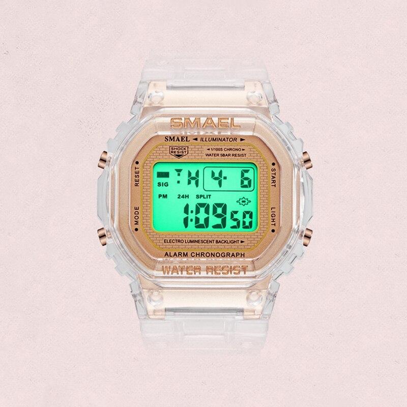 SMAEL Дети Часы 2020 Мода Крутой Прозрачный Ремешок Спорт Цифровые Часы Для Мальчиков Девочек Светящийся Водонепроницаемый Наручные часы 1905