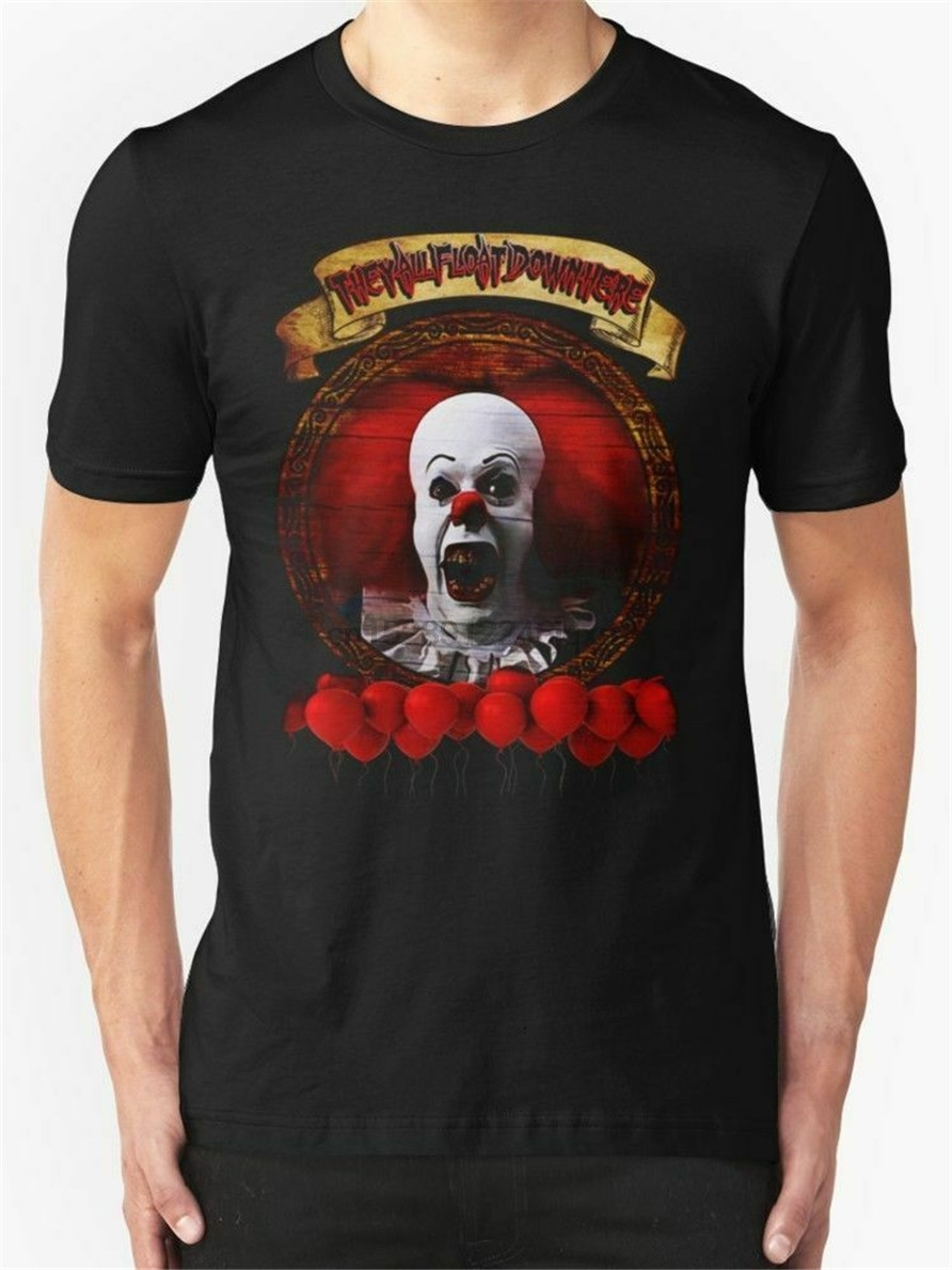 NEW Tim Curry Pennywise Stephen King Men Black Tshirt Size S-2XL