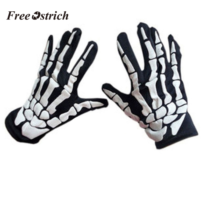 1 Pair Halloween Horror Skull Claw Bone Skeleton Goth Racing Full Gloves Cycling Hiking Equipment Outdoor Glove 909
