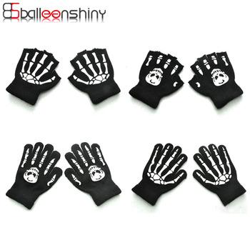 BalleenShiny zimowe ciepłe rękawiczki dla dzieci Halloween Luminous czaszka dla dzieci rękawiczki niemowlę dziecko rękawiczki zimowe dla dziewczyny chłopiec tanie i dobre opinie Akrylowe Acrylic 1404 for 5-12years Cartoon Unisex 100 brand new and high quality Winter Gloves for Girl Boy Winter Warm Kids Gloves