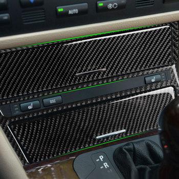 Car Carbon Fiber Center Control Panel Gear Shift Cigarette Lighter Cover Sticker Trim For BMW 3 series E46 1998 - 2003 2004 2005 for bmw e46 1998 2005 left hand drive interior carbon fiber gearshift panel panel cover sticker 3pcs refitting accessories
