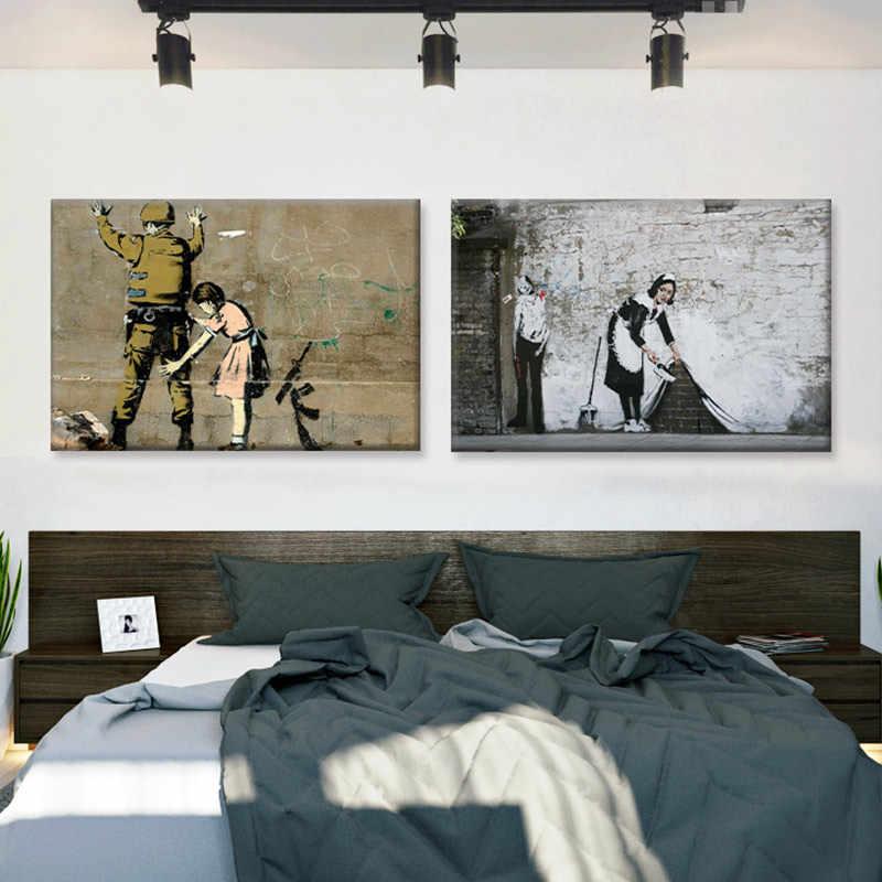 Conisi 낙서 예술 벽화 거리 삽화 낙서 포스터 Banksy 다채로운 비 Dady 및 아이 침실 홈 장식