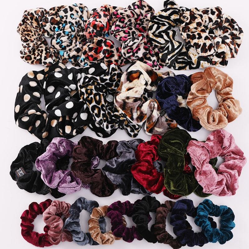 Women Elegant Leopard Solid Crude Velvet Elastic Hair Bands Tie Scrunchie Rubber Bands Ponytail Holder Fashion Hair Accessories