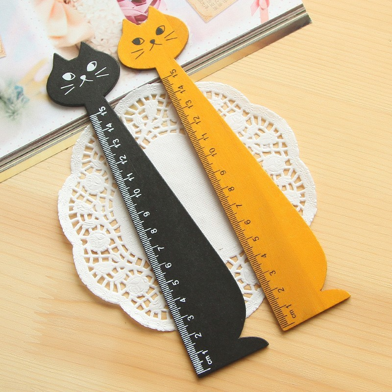 15cm Cute Cat Straight Ruler Wooden Kawaii Cat Shaped Ruler Drawing Measuring Tool Kids Gifts Office School Stationery Supplies