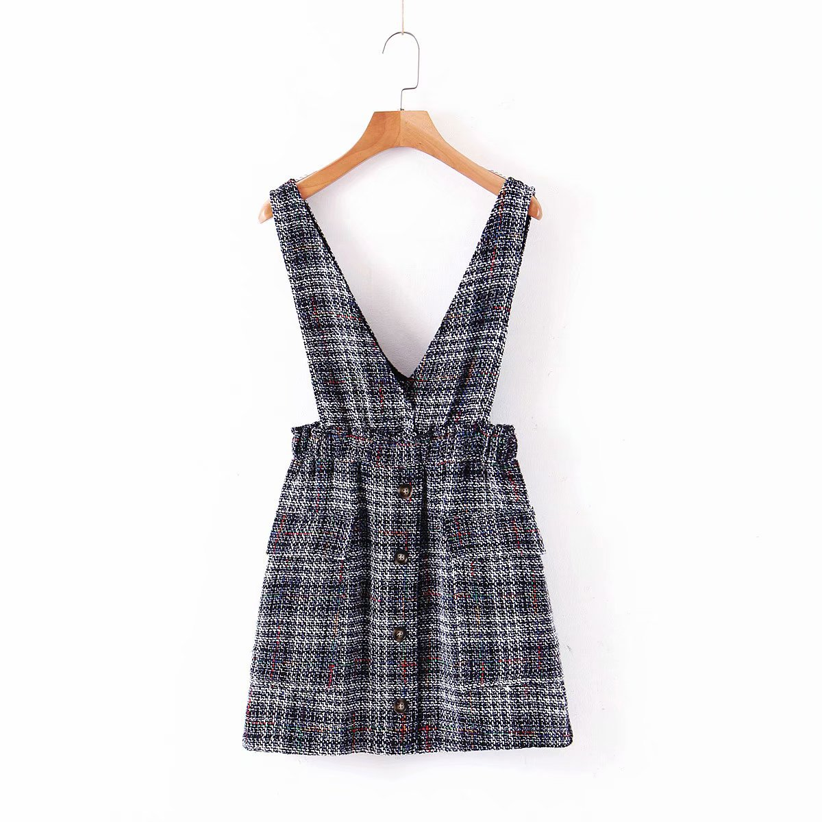 M1615-Western Style WOMEN'S Dress 2019 Summer New Style Graceful Tweed Plaid Suspender Strap Dress