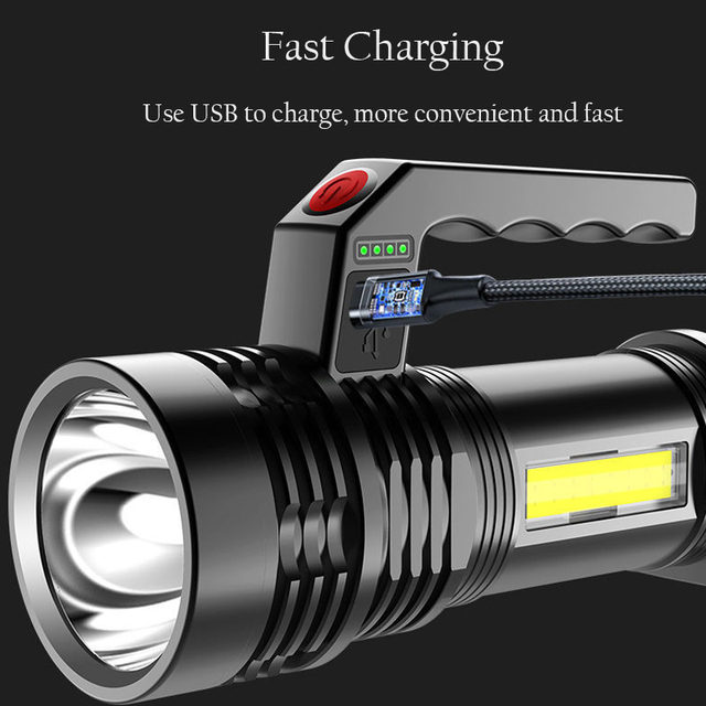 Portable Powerful LED Flashlight Portable Mini Searchlight P500 Torch USB Rechargeable Waterproof Spotlight for Fishing Lantern 3