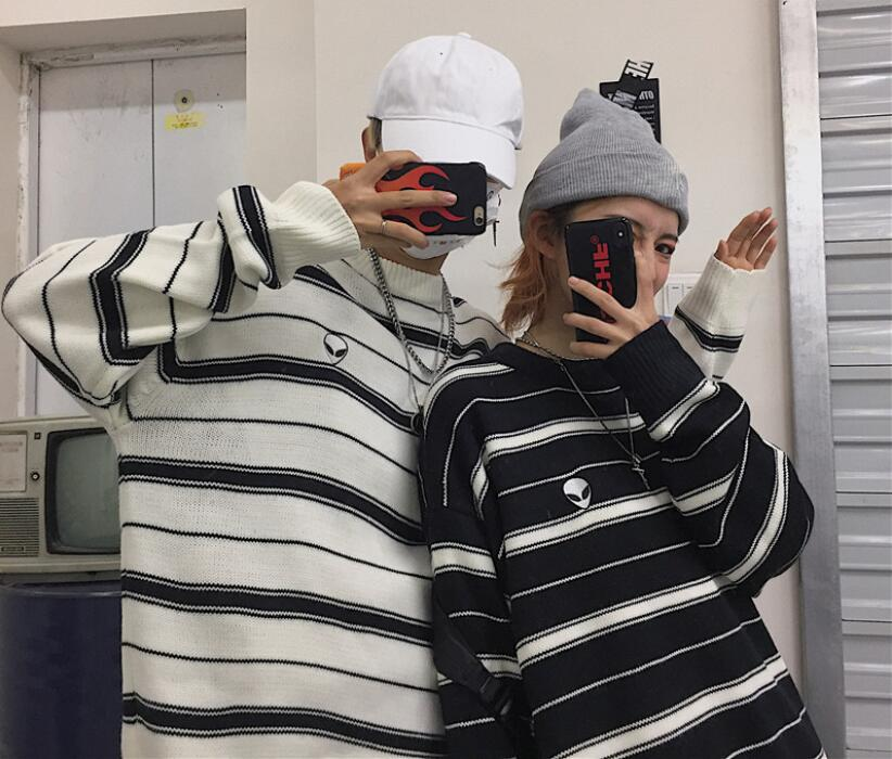Autumn And Winter Korean Striped BF Wind Loose Alien Long-sleeved Knit Sweater