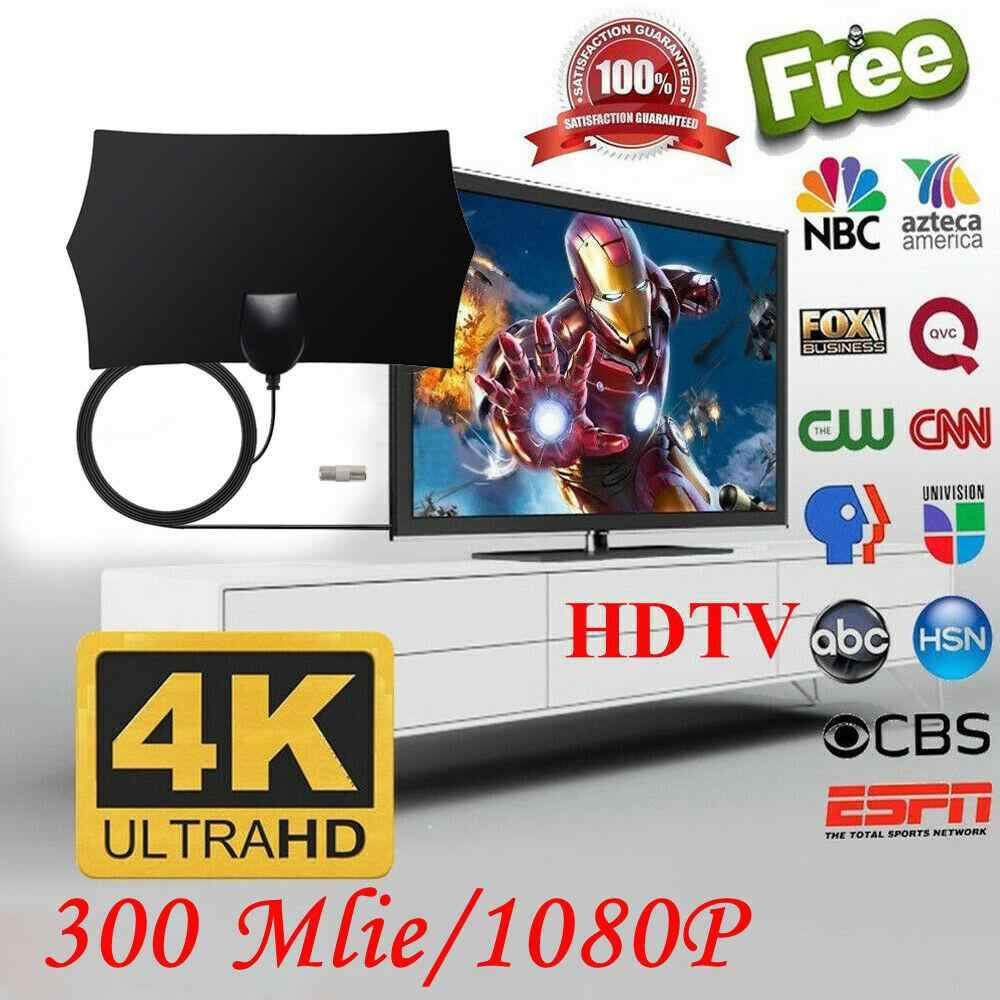 DIGITAL ANTENNA TV HDTV 300 MILES LONG RANGE HQ HDTV INDOOR ANTENA Freeview HD
