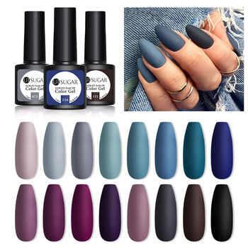 UR SUGAR 7.5ML Dark Blue Matte Top Coat Color UV Nail Gel Polish Semi Permanent Soak Off UV LED Gel Nail Gel Nail Art DIY Design 1