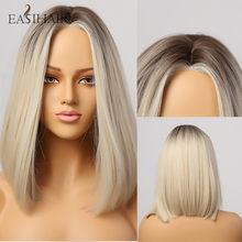 EASIHAIR brązowy do blond Ombre włosy syntetyczne peruka Hairline częściowo koronka peruki dla kobiet peruki naturalne proste peruki termoodporne