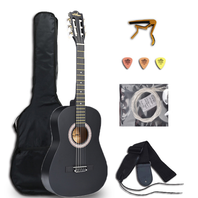 <font><b>36</b></font> Inch Classical <font><b>Guitar</b></font> 6 String Basswood <font><b>Guitar</b></font> Electric Classical <font><b>Guitar</b></font> Instrument with Capo Strings Picks Strap AGT273A image