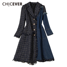 Denim Coat Color-Pockets Patchwork Plaid Women Long-Sleeve New-Style Fashion Plus-Size