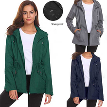 Womens Outside Waterproof Jacket Lightweight Raincoat Hooded Overcoat Rain Coat