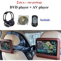 Reprodutor de dvd do encosto de cabeça dos pces de dvd + av 2 com usb/sd/ir/fm/jogos sem fio 800*480 monitor de encosto de cabeça da tela do carro monitor de carro Monitores de carro    -