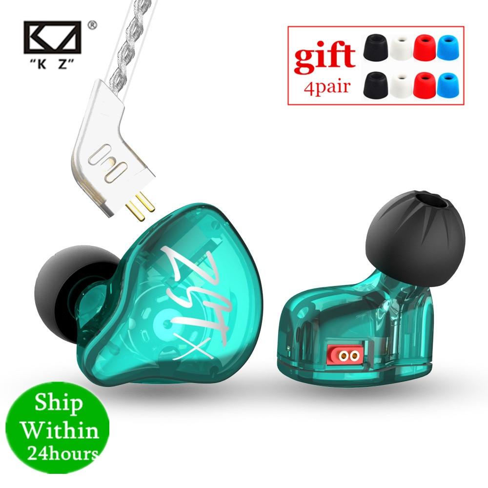KZ ZST X 1BA + 1DD Гибридный блок в ухо наушники HIFI бас спортивные DJ наушники с посеребренным кабелем наушники KZ ZSTX ZSN