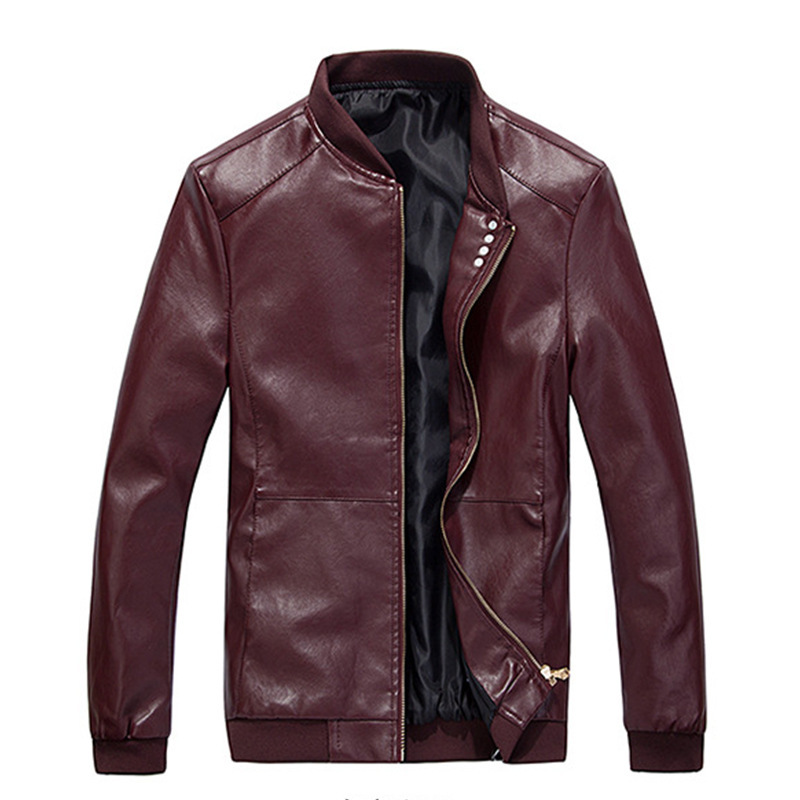 Spring And Autumn Men Thin Baseball Collar Solid Color Washing PU Leather Coat Large Size Locomotive Leather Coat Clip