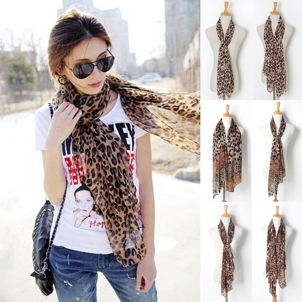 Sexy Long Leopard Print Scarf Women Chiffon Scarves Autumn Winter Soft Shawl All-match Ladies Soft Scarf 150x48 Cm