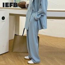 IEFB New Spring Blue Men's Suit Pants Korean Streetwear Fashion Wide Leg Pants Simple Loose Casual Floor Straight Trousers Y6918