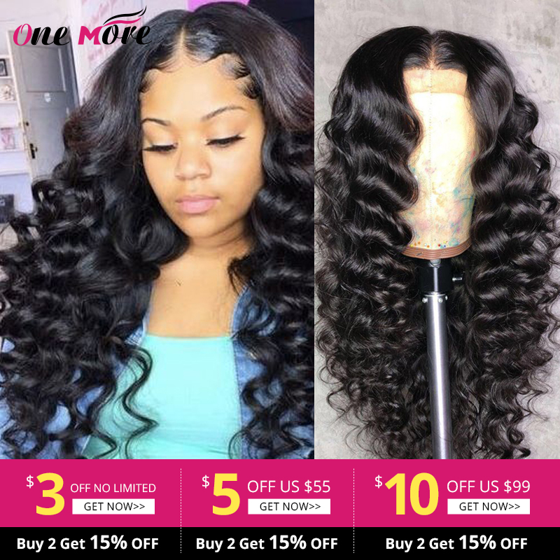 One More Lace Closure Human Hair Wigs Peruvian Hair Wigs Loose Deep Wave Hair Wigs Pre Plucked Lace Front Wigs With Baby Hair