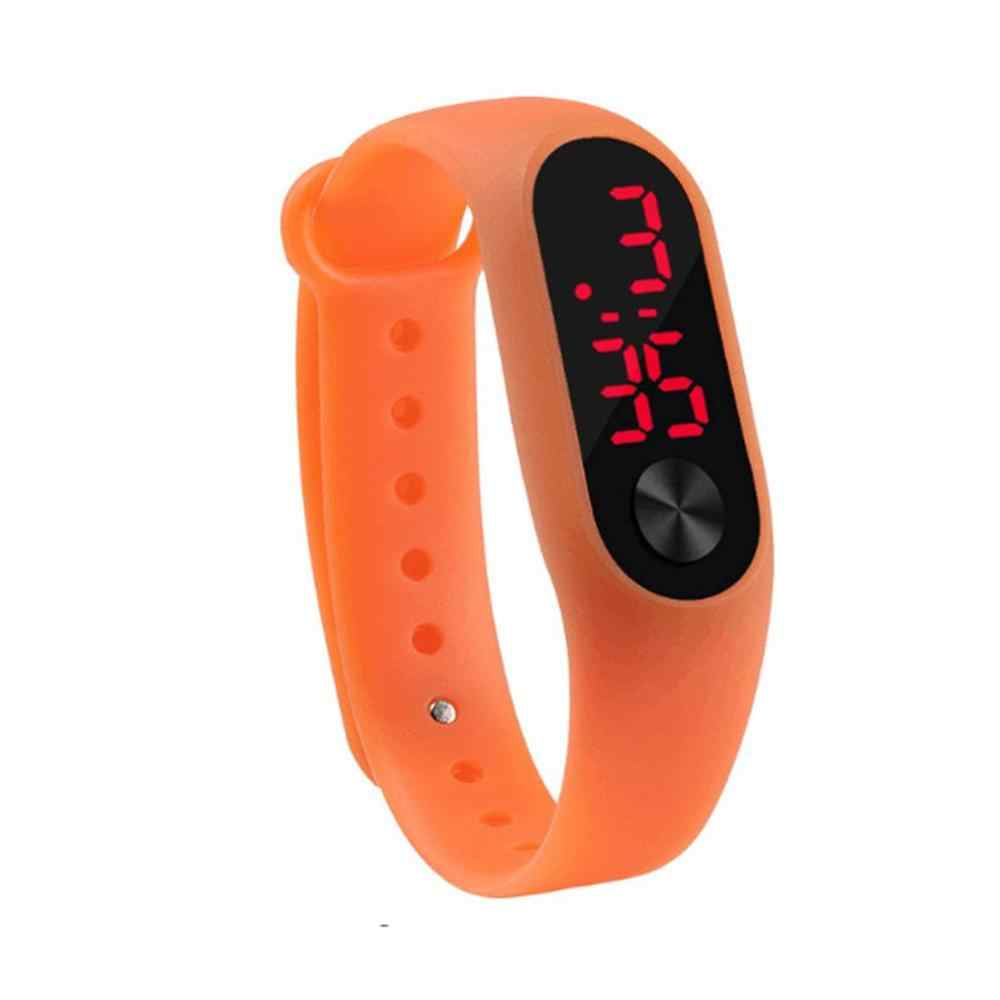 Relógio de pulso do silicone da cor dos doces digitais eletrônicos do diodo emissor de luz branco