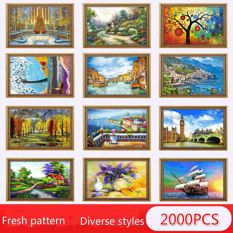 New 2000 Piece Puzzle Children's Educational Jigsaw Puzzle Early Education Toy Adult Decompression Jigsaw Boxed Toys