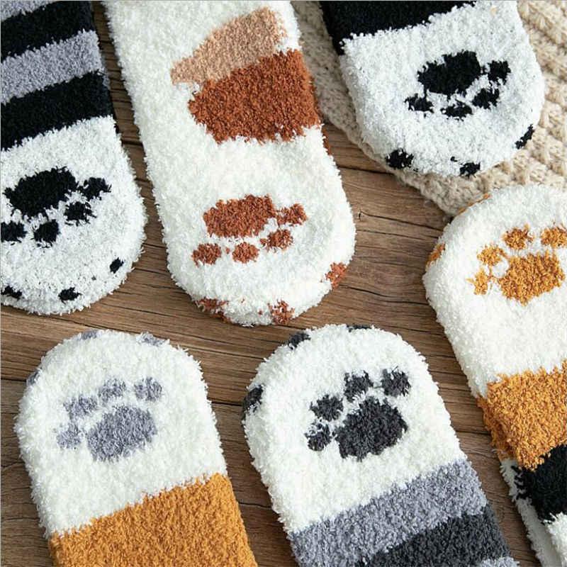 1 paire de peluche corail polaire chaussettes femme tube chaussettes automne et hiver chat griffes mignon épais chaud dormir sol sommeil chaussettes
